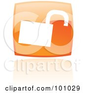 Royalty Free RF Clipart Illustration Of A Shiny Orange Square Padlock Web Browser Icon by cidepix