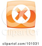 Royalty Free RF Clipart Illustration Of A Shiny Orange Square Error Web Browser Icon by cidepix