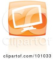 Royalty Free RF Clipart Illustration Of A Square Orange Computer Logo Icon by cidepix