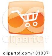 Glossy Orange Square Shopping Cart Web Icon And Reflection