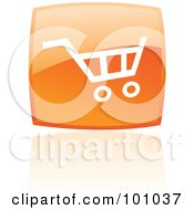 Royalty Free RF Clipart Illustration Of A Glossy Orange Square Shopping Cart Web Icon And Reflection by cidepix