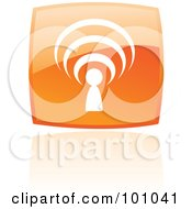 Royalty Free RF Clipart Illustration Of A Square Orange Podcast Logo Icon by cidepix