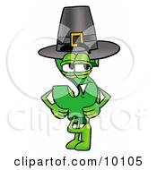 Dollar Sign Mascot Cartoon Character Wearing A Pilgrim Hat On Thanksgiving by Toons4Biz