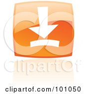 Royalty Free RF Clipart Illustration Of A Shiny Orange Square Download Web Browser Icon by cidepix