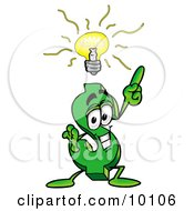 Dollar Sign Mascot Cartoon Character With A Bright Idea by Toons4Biz
