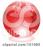 Royalty Free RF Clipart Illustration Of A Shiny 3d Red Globe With Light Reflecting Off Of The Bottom by cidepix
