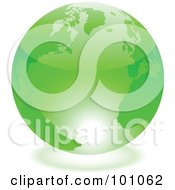 Royalty Free RF Clipart Illustration Of A Shiny 3d Green Globe With Light Reflecting Off Of The Bottom by cidepix