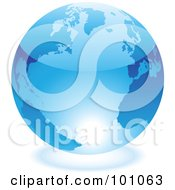 Royalty Free RF Clipart Illustration Of A Shiny 3d Blue Globe With Light Reflecting Off Of The Bottom by cidepix