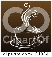 Royalty Free RF Clipart Illustration Of A Steamy White Cup Of Coffee On Brown 2