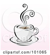 Royalty Free RF Clipart Illustration Of A Steamy Cup Of Coffee On A Pink And White Background