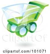 Royalty Free RF Clipart Illustration Of A 3d Green Shopping Cart Web Icon by cidepix