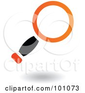 Royalty Free RF Clipart Illustration Of A Black And Orange Magnifying Glass Icon Logo