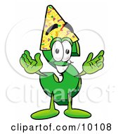 Dollar Sign Mascot Cartoon Character Wearing A Birthday Party Hat by Toons4Biz