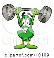 Dollar Sign Mascot Cartoon Character Holding A Heavy Barbell Above His Head by Toons4Biz