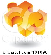 Royalty Free RF Clipart Illustration Of An Orange 3d Puzzle Piece Logo Icon by cidepix