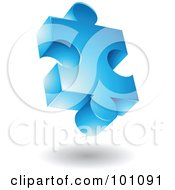 Royalty Free RF Clipart Illustration Of A Blue 3d Puzzle Piece Logo Icon