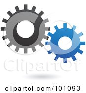Royalty Free RF Clipart Illustration Of Black And Blue Mechanical Gears