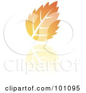Royalty Free RF Clipart Illustration Of An Orange Autumn Leaf Logo Icon 3 by cidepix