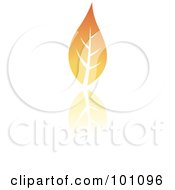 Royalty Free RF Clipart Illustration Of An Orange Autumn Leaf Logo Icon 1 by cidepix