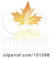 Royalty Free RF Clipart Illustration Of An Orange Autumn Leaf Logo Icon 2 by cidepix