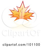 Royalty Free RF Clipart Illustration Of An Orange Autumn Leaf Logo Icon 5 by cidepix