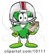 Clipart Picture Of A Dollar Sign Mascot Cartoon Character In A Helmet Holding A Football by Toons4Biz