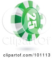 Royalty Free RF Clipart Illustration Of A 3d Green Casino Roulette Chip by cidepix