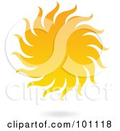 Royalty Free RF Clipart Illustration Of A Yellow Sun With Spiraling Rays by cidepix