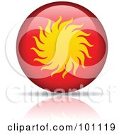 Royalty Free RF Clipart Illustration Of A Yellow Sun On A Red Orb Logo Icon by cidepix
