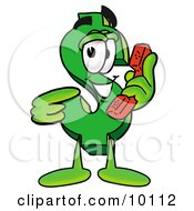 Clipart Picture Of A Dollar Sign Mascot Cartoon Character Holding A Telephone by Toons4Biz