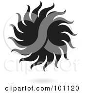 Royalty Free RF Clipart Illustration Of A Black Sun With Spiraling Rays by cidepix