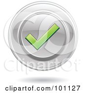 Royalty Free RF Clipart Illustration Of A Green Check Mark On A Chrome Disc