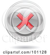 Royalty Free RF Clipart Illustration Of A Red X Mark On A Chrome Disc