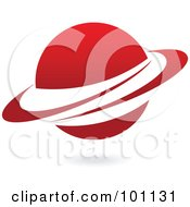 Royalty Free RF Clipart Illustration Of A Red Ringed Planet Logo Icon