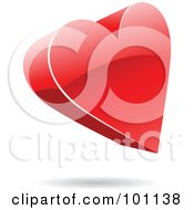 Royalty Free RF Clipart Illustration Of A Shiny 3d Heart Logo Icon by cidepix