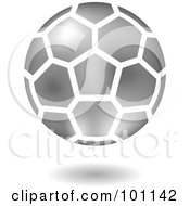 Royalty Free RF Clipart Illustration Of A Shiny Silver Soccer Logo Icon by cidepix #COLLC101142-0145
