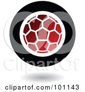 Royalty Free RF Clipart Illustration Of A Round Red Black And White American Soccer Logo Icon by cidepix