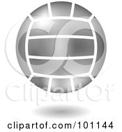 Royalty Free RF Clipart Illustration Of A Shiny Silver Volleyball Logo Icon