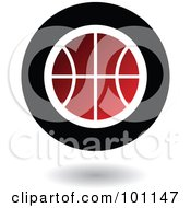 Royalty Free RF Clipart Illustration Of A Round Red Black And White Basketball Logo Icon by cidepix