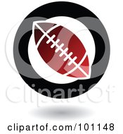 Royalty Free RF Clipart Illustration Of A Round Red Black And White American Football Logo Icon by cidepix