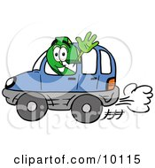Clipart Picture Of A Dollar Sign Mascot Cartoon Character Driving A Blue Car And Waving by Toons4Biz