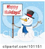 Royalty Free RF Clipart Illustration Of A Happy Holidays Greeting With A Snowman Waving And Holding A Sign