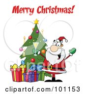 Royalty Free RF Clipart Illustration Of A Merry Christmas Greeting With Santa Toasting By A Tree by Hit Toon