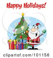 Royalty Free RF Clipart Illustration Of A Happy Holidays Greeting With Santa Holding Champagne By A Tree by Hit Toon