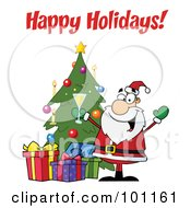 Royalty Free RF Clipart Illustration Of A Happy Holidays Greeting With Santa Toasting By A Tree by Hit Toon