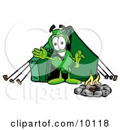 Clipart Picture Of A Dollar Sign Mascot Cartoon Character Camping With A Tent And Fire by Toons4Biz