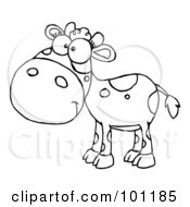 Royalty Free RF Clipart Illustration Of A Coloring Page Outline Of A Calf With Spots