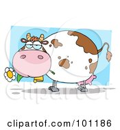 Royalty Free RF Clipart Illustration Of A Chubby Dairy Cow Chewing On A Flower