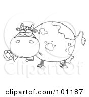 Royalty Free RF Clipart Illustration Of A Coloring Page Outline Of A Chubby Dairy Cow Snacking On A Flower