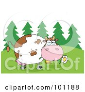 Royalty Free RF Clipart Illustration Of A Fat Cow Eating Flowers Near Woods